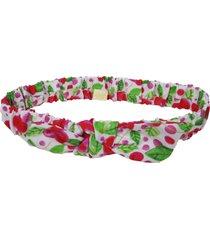 faixa de cabelo ecokids place com elástico e laço frutinhas multicolorido