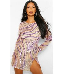 petite sequin front split mini dress, gold