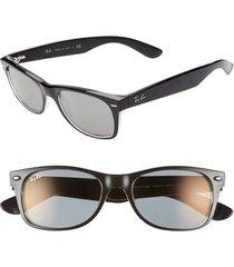 women's ray-ban new wayfarer classic 52mm sunglasses - transparent black mirror