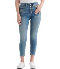 women's lucky brand bridgette button fly crop skinny jeans, size 28 - blue