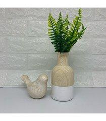 conjunto de vaso e passarinho na cor amadeirado