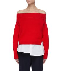 off-shoulder shirt tail detail sweater