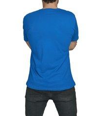 camiseta azul luck & load cuello dos botones manga corta