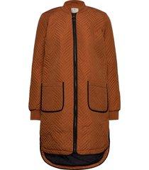 kamica quilted coat doorgestikte jas bruin kaffe