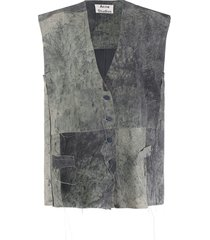 acne studios distressed suede gilet - grey