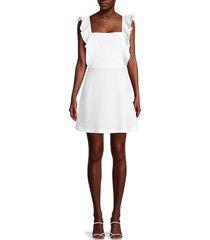 bcbgeneration women's ruffle squareneck dress - off white - size 6