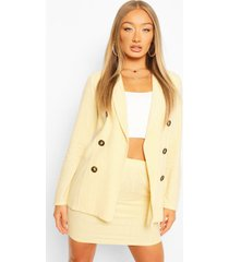 linen look double breasted blazer, yellow