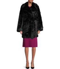 zadig & voltaire women's fast faux-fur shaggy coat - black - size 38 (m)