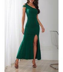 yoins verde one hombro sin mangas con abertura en el dobladillo vestido