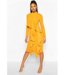 high neck ruffle front midi dress, mustard
