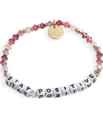 women's little words project stay positive beaded stretch bracelet