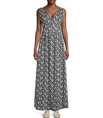 beatrice b women's printed v-neck maxi dress - nero - size 40 (2)