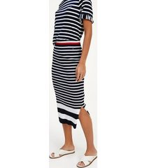 tommy hilfiger women's ribbed stripe pencil skirt white/navy stripe - xs