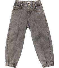 brunello cucinelli soft denim trousers with necklace