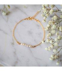 bransoletka z perłami little - pozłacana