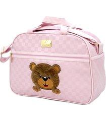 frasqueira baby nut térmica amêndoa urso pelúcia rosa