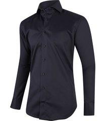 cavallaro heren overhemd black twill ml7 two ply cutaway italian fit zwart