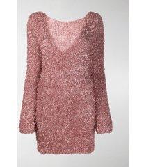 antonella rizza textured v-back jumper dress