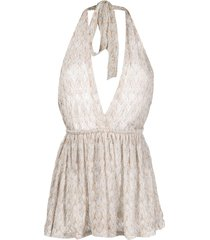 missoni mare metallic-threaded halterneck jumpsuit - neutrals