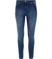 jean mujer con pedreria color azul, talla 10