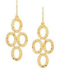 textured oval ring chandelier drop earrings in 10k gold