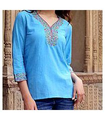 cotton blouse, 'blue floral' (india)