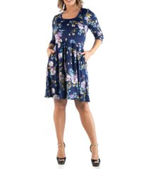 24seven comfort apparel women's plus size floral print fit and flare dress