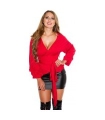 sexy wikkel blouse rood