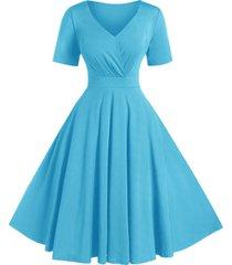 plus size solid high waist v neck vintage dress