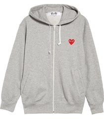 men's comme des garcons play zip cotton hoodie