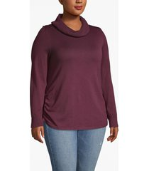 lane bryant women's side-ruched cowl-neck sweater 26/28 winetasting