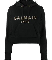 balmain crystal-embellished cropped hoodie - black