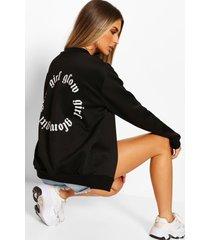 slogan back print bomber jacket, black