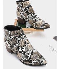 punta con cremallera lateral animal patrón tobillo botas