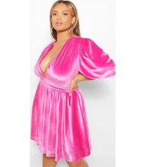 plus velours skater jurk met laag decolleté en pofmouwen, warm roze