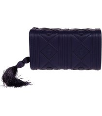 la regale faux leather diamond pattern box clutch with tassel