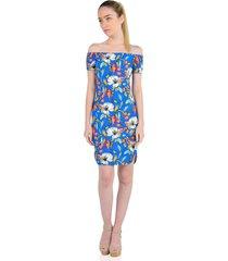 vestido off shoulder de mujer aishop af172-dr5477t3 azul