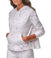 marc new york performance women's tie dye french terry boxy hoodie - lilac - size xl