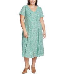 1.state plus size floral-print midi dress