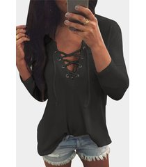 v neck lace up front loose t-shirt in grey