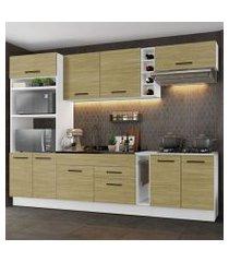 cozinha completa madesa agata 290001 com armário e balcão (sem tampo e pia) branco/carvalho branco/carvalho