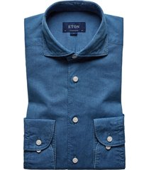 eton contemporary fit denim casual shirt, size 17 in blue at nordstrom