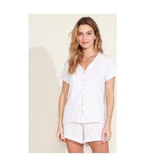 pijama feminino camisa estampado xadrez vichy com viés contrastante manga curta lilás