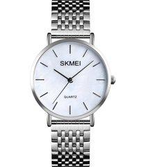 skmei mujer reloj de cuarzo de acero acero inoxidable femenina moda satinado pulido dial dial de 24 horas impermeable