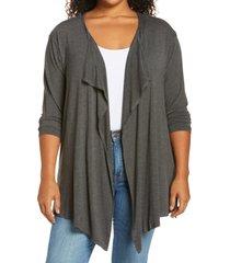 plus size women's vince camuto drape front open cardigan, size 1x - grey
