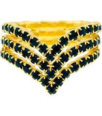 anel horus import verde esmeralda triplo banhado ouro amarelo 18 k - 1010104 - kanui