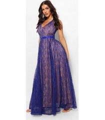 boutique kanten maxi jurk met diepe hals, marineblauw