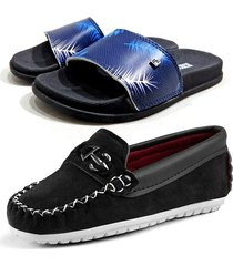 combo infantil mocassim casual e slide slim child line preto