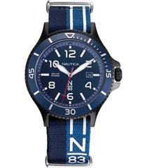 nautica n83 men's napcbs903 cocoa beach solar blue/black fabric slip-thru strap watch