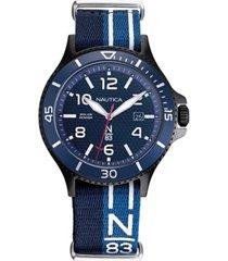 nautica n83 men's napcbs903 cocoa beach solar blue/black fabric slip-thru strap watch